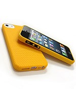 "Housse iPhone ""point de croix"" 5 - Jaune"